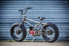 Fat Tracker: A motorized bicycle for BMX fans Pit Bike, Motor Stirling, Motorised Bike, Honda Cub, Cycling Art, Cycling Quotes, Cycling Jerseys, Drift Trike, Motorized Bicycle