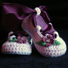 CROCHET PATTERN #202 Baby Ballerina Ballet slippers PDF  - Pattern number 202 Instant Download