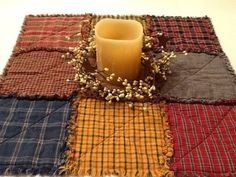 Primitive Rag Quilt Table Topper by woodnstitchesmn on Etsy