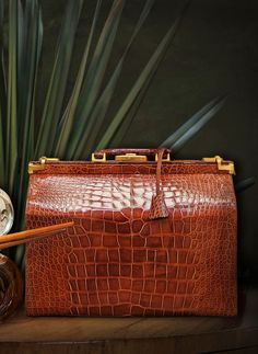 Bijan alligator skin travel bag