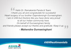 Words of gratitude from one of our patient's brother. Read below! #AsianHeartInstitute #AHItestimonials