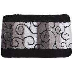 $23.95 Swirl Pattern Bathroom Bath Mat/Rug (35 x 22 Inches) (Black/White/Grey)  From Universal Textiles