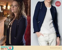 Hanna's studded tweed jacket on Pretty Little Liars. Outfit Details: http://wornontv.net/25451 #PrettyLittleLiars #fashion