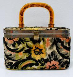 Vintage Carpet Handbag with Tortoise Lucite Handle