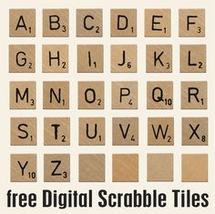 Spell out what you want to say. Scrabble Letters Printable, Scrabble Tile Crafts, Scrabble Art, Digital Stamps, Digital Scrapbooking, Scrapbooking Ideas, Silhouette Cameo, Cool Fonts, Fun Fonts