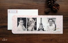 Custom elegant french pink and gold holiday photo cards by Catherine Kiff-Vozza, Couture Stationer #ckv