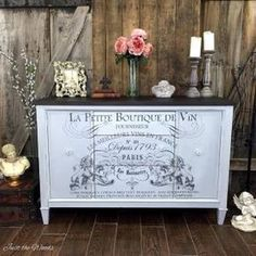 Add a French Image transfer to a vintage buffet. Painted furniture with a stain top and cloudy finish. IOD image transfer brings added character to the makeover Unique Wood Furniture, Diy Garden Furniture, Inexpensive Furniture, Repurposed Furniture, Furniture Projects, Vintage Furniture, Painted Furniture, Diy Projects, Repurposed Wood