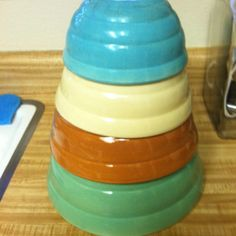 Vintage bauer pottery ringware mixing bowls!  I grew up with bowls like this.