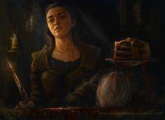 Terrifying Illustration of Arya's GOT Season 6 Finale Scene by Inna Vjuzhanina