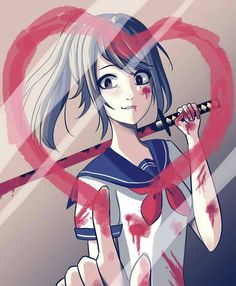 Ayano with blood and a katana | yandere simulator
