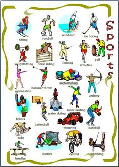 The different kinds of sports English lesson. Learn the vocabulary for some of more common sports