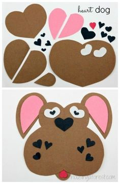 Lots of Heart Shaped Animal ideas ~ simple Valentines Day craft #ValentinesDay