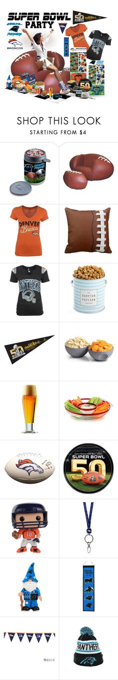 """Game On! Super Bowl Party"" by likepolyfathion ❤ liked on Polyvore featuring interior, interiors, interior design, home, home decor, interior decorating, Picnic Time, The Hampton Popcorn Company, ThinkGeek and Libbey"