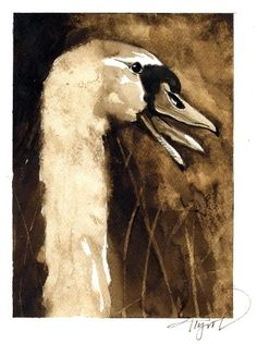 """The Outside Story: """"Mute Swans,"""" by Meghan McCarthy McPhaul. Illustration by Adelaide Tyrol. """"The big white birds paddling gracefully across a Massachusetts pond last November surprised me. I'd grown up in the town I was visiting and had never seen swans there…"""""""