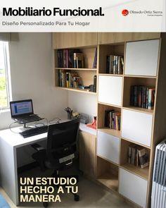 Cuando compramos muebles prefabricados en muchas ocasiones no se adaptan a lo que necesitamos y nuestra habitación parece que se va encogiendo.😤 Con los muebles hechos a la medida no tenemos este inconveniente, ya que los podemos empotrar a la pared, aprovechar el espacio aéreo, escoger y combinar sus colores, entre otros beneficios.👍 Cali, Colombia 🇨🇴 #mobiliariofuncional #escritoriosmodernos #mobiliariocali #mueblesamedida #mobiliarioamedida Cali Colombia, Corner Desk, Bookcase, House Ideas, Shelves, Furniture, Home Decor, Custom Furniture, Home Furniture