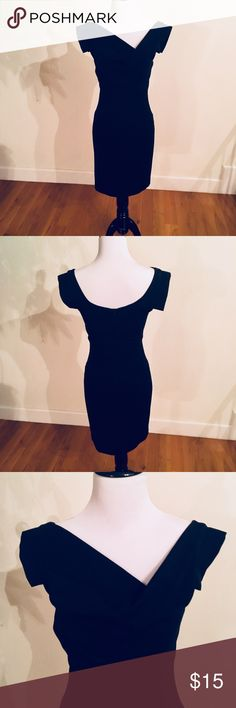 Navy Blue Asymmetrical Neck Dress Super chic and elegant! Fitted and very flattering dress is perfect for day to evening wear. Deep Navy/Midnight Blue Color. NWOT. Smoke free/pet free home. VENUS Dresses Mini