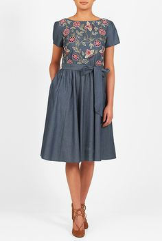 Floral wool embellished cotton chambray dress #eShakti