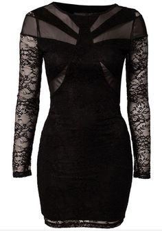 Black Patchwork Lace Dress