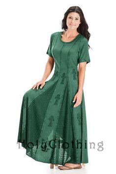 Catriona Empire Flare Boho Godet Gypsy Peasant Long Dress 5X - 5X - Shop by Size - Dresses