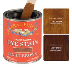 Water-based Dye Stains penetrate deep into the wood to beautifully magnify the grain. They will provide your project with more depth and color vibrancy than any other wood stain. This product is excellent for highly figured woods like mahogany, walnut or maple. Dye stains can also be used as a toner when mixed with Water Based Topcoats. Water Based Wood Stain, General Finishes, Water Stains, Light Oak, Stain Colors, Canning, Brown, Kitchen Ideas, Woods