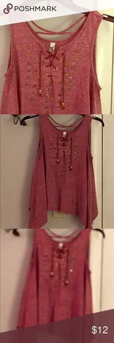 Adorable NWOT red shirt - size Med 🌸 by Beautees Purchased at Younkers just this past early spring - took to Florida - tried on only - so NWOT condition. Very cute detailing 🌸 it is a Medium but runs a little small in my opinion .  By Beautees. Beautees Tops Tank Tops