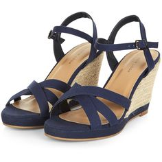 Navy Cross Strap Wedge Sandals ❤ liked on Polyvore featuring shoes, sandals, wedge heel shoes, wedge sandals, ankle wrap sandals, wedge heel sandals and ankle tie wedge shoes