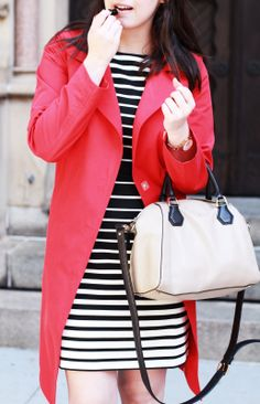 Red Trench Coat, Striped Dress, Fall Date Night Outfit Idea