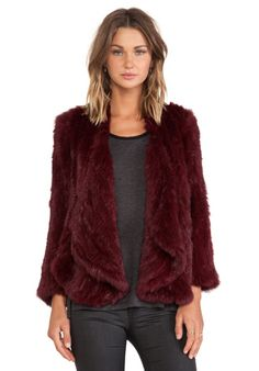 Jennifer Kate Windmill Rabbit Fur Jacket in Red Burgundy | REVOLVE