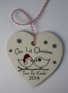 CUSTOM  Our 1st Christmas Ornament  Your Names by aphroditescanvas