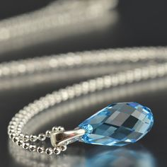 """Aquamarine Swarovski crystal sterling silver necklace, March Birthstone 