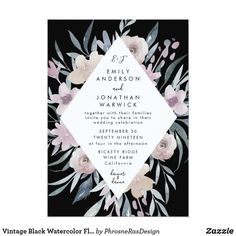 Shop Vintage Black Watercolor Flower Wedding Invitation created by PhrosneRasDesign. Spring Wedding Invitations, Watercolor Wedding Invitations, Wedding Invitation Templates, Floral Watercolor, Wedding Cards, Gatsby, Weddings, Antique, Bird