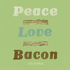 Women's Peace Love Bacon Short Sleeve Tee|Life is good