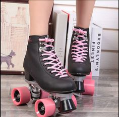 Tienda Online 2015 Double Roller Skates Automobile Race Skating Shoes Female For Outdoor Street Ice Figure Powerslide Leather Pu Four Wheels Roller Derby, Roller Quad, Rio Roller, Pink Roller Skates, Roller Skate Shoes, Quad Skates, Rollers, Roller Skating Pictures, Skating Dresses