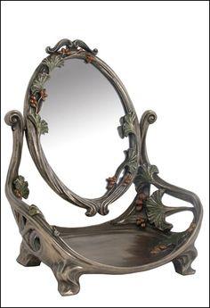 Art Nouveau Cast Bronze Make Up Mirror