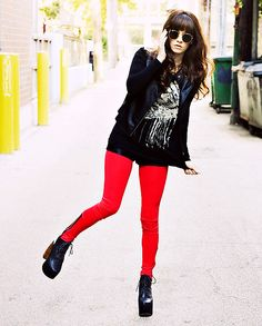 Http://Www.Jaglever.Com, Ray Ban Rayban Sunglasses, Leather Jacket, Lna And Whitley Kros Headdress Graphic Tee, American Apparel Disco Shorts, Red Leggings, Jeffrey Campbell Lana Boots