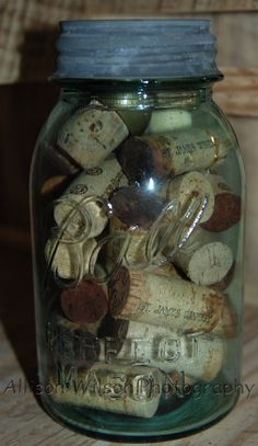 Where can I put the wine corks I have all around my kitchen? -Antique Ball Mason Jar with Wine Corks - rustic, country home decor, art, simple life