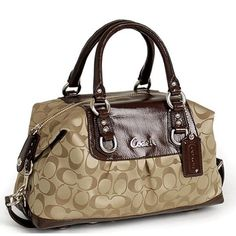 COACH 15443 Ashley Satchel Handbag Color Khaki/Maho. Has wear & tear (like in the pictures) but still in okay condition Coach Bags Satchels