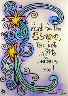 Reaching for the stars, star doodle, doodle art, inspiration quotes, Kunstjournal Inspiration, Art Journal Inspiration, Motivation Inspiration, Art Journal Pages, Art Journals, Banners, Star Quotes, Reaching For The Stars, Smash Book