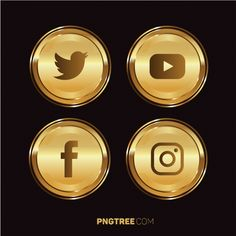 Social media golden bundle set prime PNG and Vector Whatsapp Logo, Autumn Leaves Background, Logo Facebook, Youtube Logo, Instagram Logo, Social Media Icons, Instagram Highlight Icons, Icon Pack, Prints For Sale