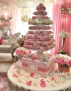plethora of pink & fresh flora on our macaron tower.