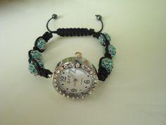 Blue & Black Shamballa Watch by traceysjewellery on Etsy, Handmade Jewellery, Fashion Watches, Bracelet Watch, Bracelets, Blue, Stuff To Buy, Etsy, Vintage, Accessories