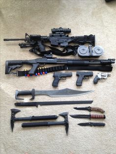 The basic essentials  -AR-15 Assault Rifle -Mossberg 500 Tactical 12ga Shotgun -Sig Sauer P220 .45ca -XD Compact 9mm -Snub Nose .38 Special -(2) Swords -(3) Knives -(2) Tomahawks