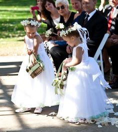 """Flower Girl head wreaths and square-twig """"baskets"""" - design by Heather Murdock of The Blue Orchid"""