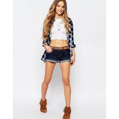 Hollister Medium Wash Denim Shorts (€20) ❤ liked on Polyvore featuring shorts, blue, slim denim shorts, low rise shorts, blue jean shorts, slim jean shorts and short jean shorts