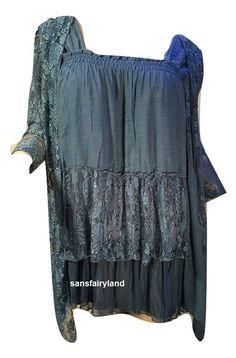 Pretty Angel Size S, M, XL, Top / Dress Vintage Victorian Lace Blue 10523 #PrettyAngel #Blouse
