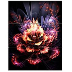 DesignArt 'Fractal Flower' Graphic Art on Wrapped Canvas in Orange/Purple Size: Fall Canvas Art, Abstract Canvas Art, Canvas Art Prints, Canvas Wall Art, Orange Wall Clocks, Orange Wall Art, Orange Walls, Yellow Wall Decor, Orange Home Decor
