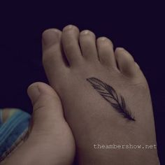 Small Feather Tattoo On Foot