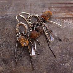 SALE ! Baltic amber  earrings •  Swarovski  earrings • Sterling Siver  • Raw silver
