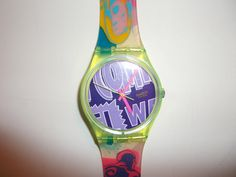 Swatch watches were bright colored with lots of patterns and you could switch out the bands to a different color.