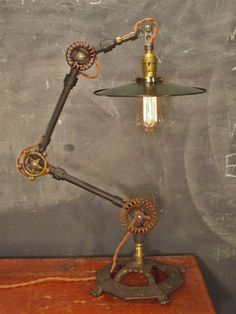Vintage Industrial Desk Lamp - Machine Age Task Light - Cast Iron - #Lighting #Light #Industrial